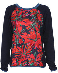 Romwe Floral Print Long Sleeved Black T Shirt