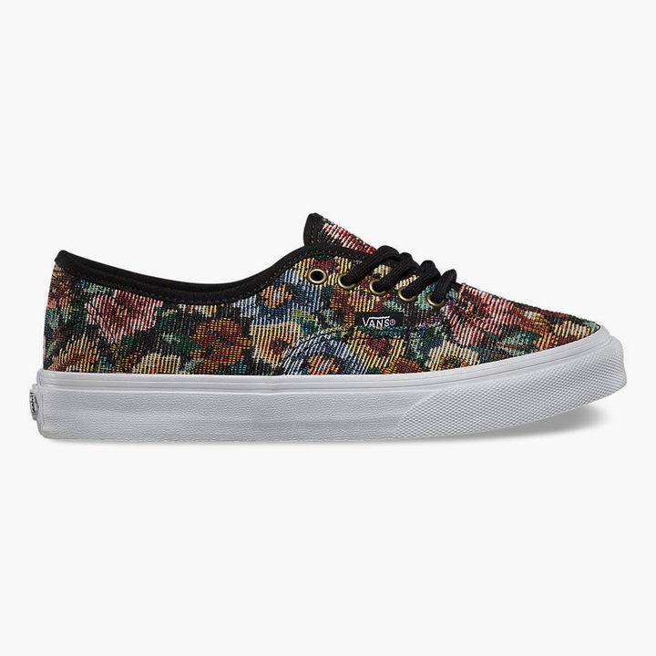 vans grises con flores