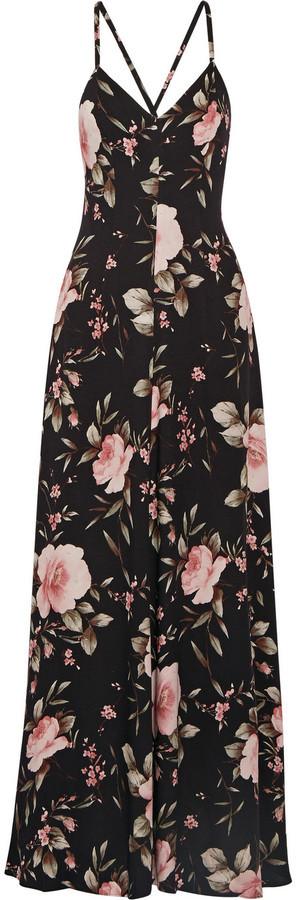 1501adf6d69bfd Alice + Olivia Alves Floral Print Crepe De Chine Maxi Dress Black ...