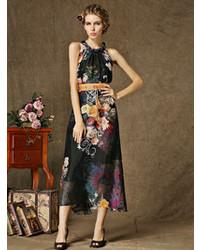 Black halter floral print maxi dress with belt medium 96260