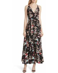 Diane von Furstenberg Dvf Floral Keyhole Tie Waist Silk Maxi Dress