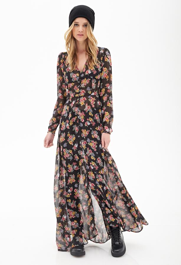 514e9d7db7d Forever 21 Floral Chiffon Maxi Dress