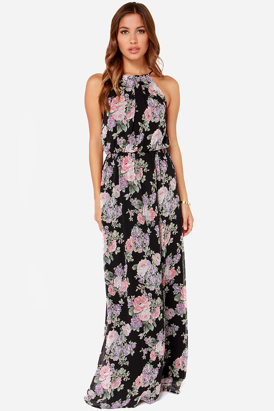 a3b1b10d74 ... LuLu s Lulus Length Of Love Floral Print Black Maxi Dress ...