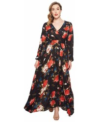 Unique Vintage Plus Size Long Sleeve Farrah Maxi Dress Dress