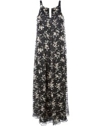 Rochas Flared Floral Maxi Dress