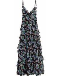 MSGM Ruffled Floral Print Silk Chiffon Maxi Dress