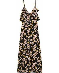 Marni Ruffled Floral Print Silk Satin Maxi Dress