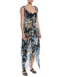 Diane von Furstenberg Sleeveless Chiffon Floral Print Coverup Maxi Dress