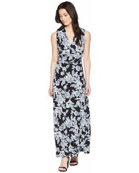 Vince Camuto Specialty Size Petite Woodblock Floral Halter Maxi Dress Dress