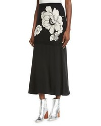 Moschino Boutique Floral Jacquard Knit Maxi Skirt