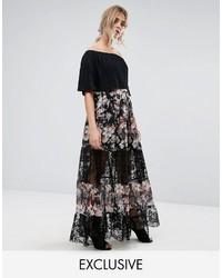 Boohoo Floral Print Lace Panel Maxi Skirt