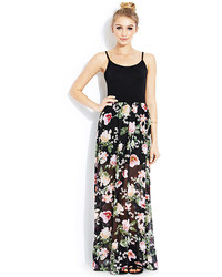 Charlotte Russe Floral Print Double Slit Maxi Skirt | Where to buy ...