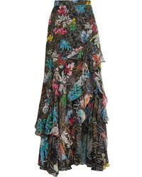 Tiered ruffled floral print silk georgette maxi skirt black medium 4312349
