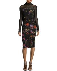 Fuzzi Long Sleeve Mesh Yoke Floral Print Sheath Dress Black Multi