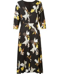 Andrea Marques Midi Panelled Floral Dress