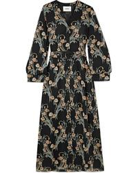 Nanushka Femme Floral Print Crepon Midi Dress