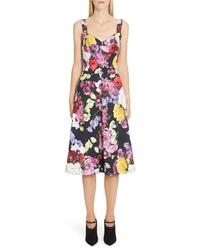 Dolce & Gabbana Floral Print Brocade Bustier Dress