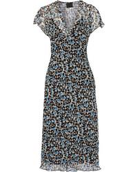 Floral print crinkled silk chiffon midi dress black medium 1251605
