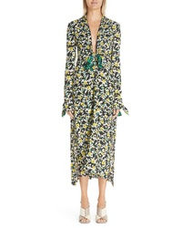 Proenza Schouler Floral Print Knotted Midi Dress