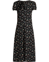 Saint Laurent Floral Print Silk Georgette Midi Dress