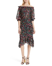 Saloni Grace Embroidered Off The Shoulder Tulle Dress