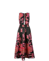 Marchesa Notte Metallic Floral Jacquard Dress