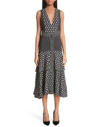 Proenza Schouler Mixed Print Button Detail Midi Dress