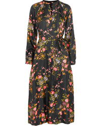 Isabel Marant Olympia Floral Print Silk Twill Midi Dress Black