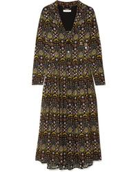 Chloé Pleated Printed Tte Midi Dress