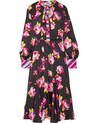 MSGM Pussy Bow Printed Satin Dress