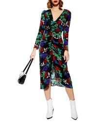 Topshop Raven Floral Midi Dress