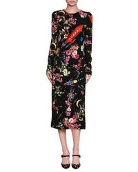 Dolce & Gabbana Rocket Ship Floral Print Long Sleeve Midi Dress Black
