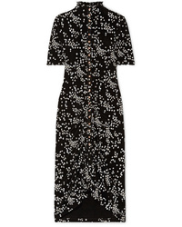See by Chloe Ruched Floral Print Stretch Jersey Dress