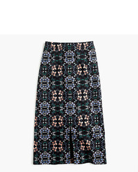 J.Crew A Line Midi Skirt In Mirrored Floral