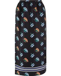 Markus Lupfer Cora Printed Silk De Chine Midi Skirt