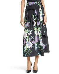 Diane von Furstenberg Dvf Floral Silk Midi Skirt