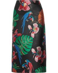 Floral jacquard midi skirt black medium 3649948