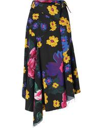 MARQUES ALMEIDA Floral Print Asymmetric Cotton Voile Wrap Midi Skirt