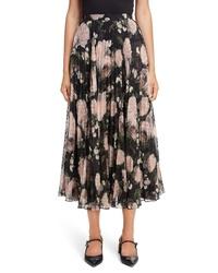 Erdem Floral Print Voile Midi Skirt