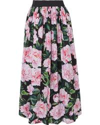 Dolce & Gabbana Gathered Floral Print Cotton Poplin Maxi Skirt