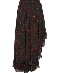 IRO Jonel Asymmetric Ruffled Printed Georgette Midi Skirt Black