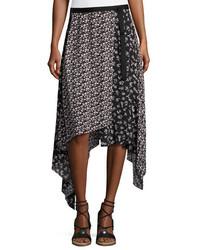Rag & Bone Liv Floral Handkerchief Hem Midi Skirt Black