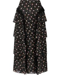 Anna Sui Med Tiered Floral Print Devor Tte Skirt