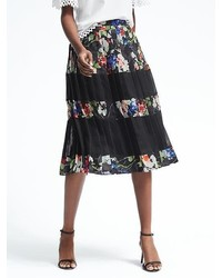 Banana Republic Pleated Floral Midi Skirt