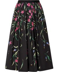 Carolina Herrera Pleated Floral Print Cotton Blend Faille Midi Skirt