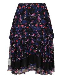 Jason Wu Collection Tiered Floral Print Silk Chiffon Skirt
