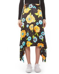 Topshop Boutique Floral Handkerchief Hem Silk Skirt