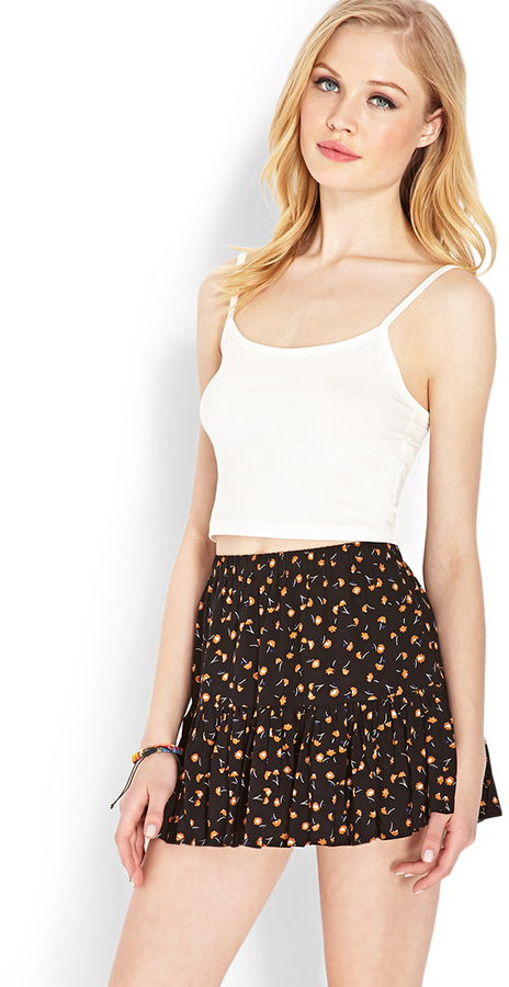 d382a0f257 Forever 21 Ditsy Floral Ruffle Skirt, $13 | Forever 21 | Lookastic.com