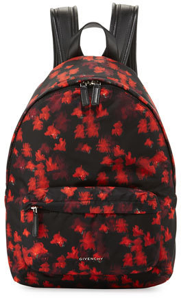 bfe5143d503 Givenchy Small Floral Print Nylon Backpack Blackred, $1,320   Neiman ...