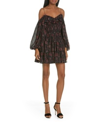 Ulla Johnson Monet Metallic Floral Cold Shoulder Dress
